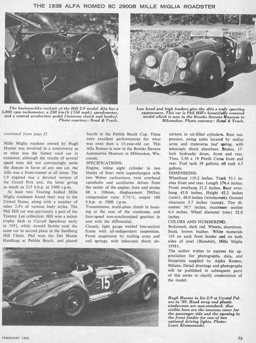 1938 Alfa Romeo 8c 2900b Mille Miglia Roadster
